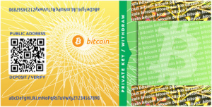 Bitcoin Paper Wallet mit Öffentlichen Schlüssel/ Public Key